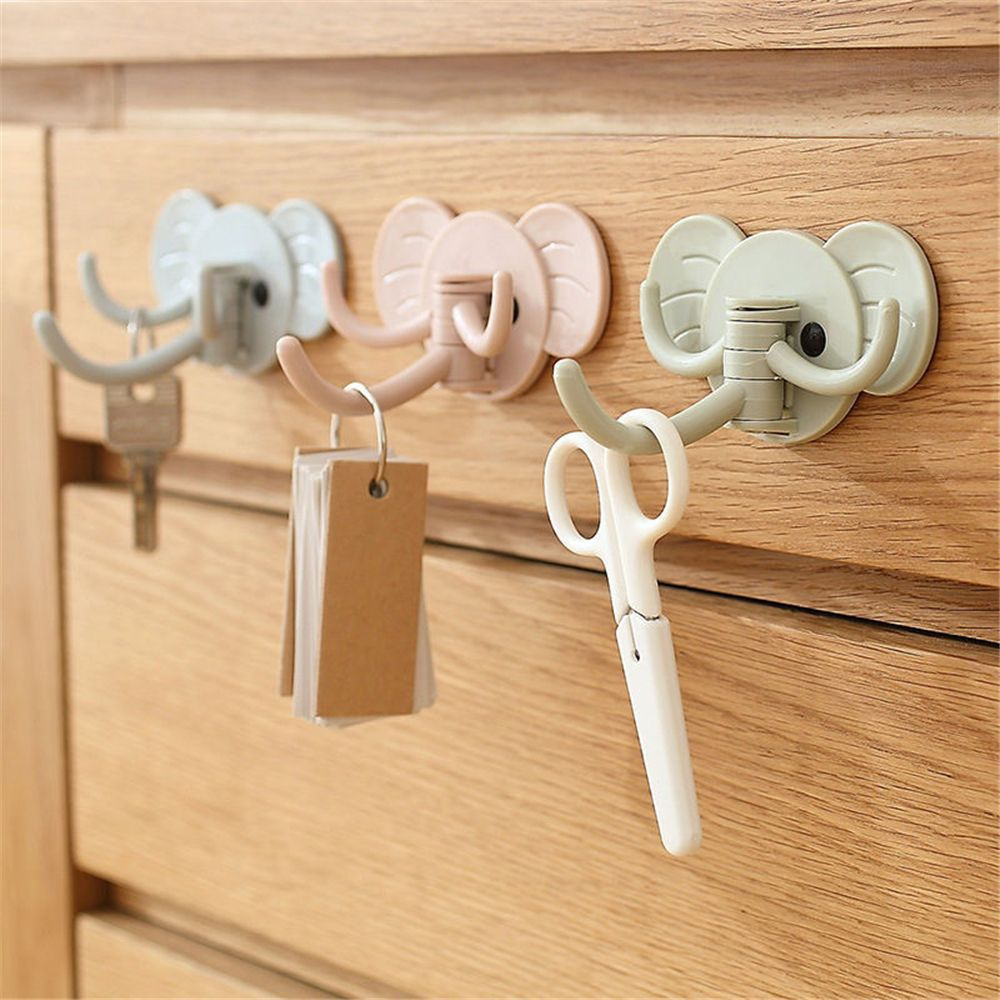 Elephant Nose Hook Coat Hanger Key Cap Wall Hook Clothing Display Racks Hook Self Adhesive Sticky Holder Minimalist Home Decor