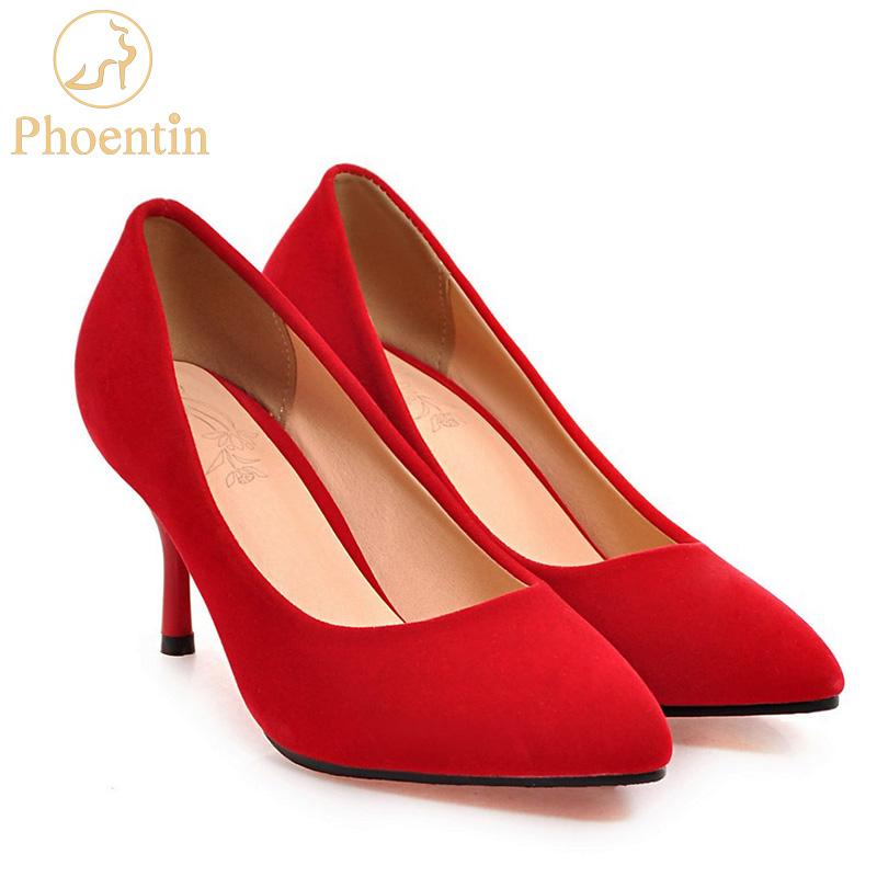 Phoentin red velvet pumps thin high heels 7cm stiletto wedding shoes bride new women fashion shoes women 2018 pointed toe FT303 the new 2017 diamond red bride wedding shoes pointed the bride wedding toast with velvet like shoes fashion