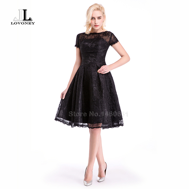 Lovoney W120 Elegant A Line Short Lace Black Prom Dresses 2017 New