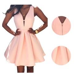 New summer vestidos women fashion casual dress v neck sleeveless pink evening party dresses vestido de.jpg 250x250