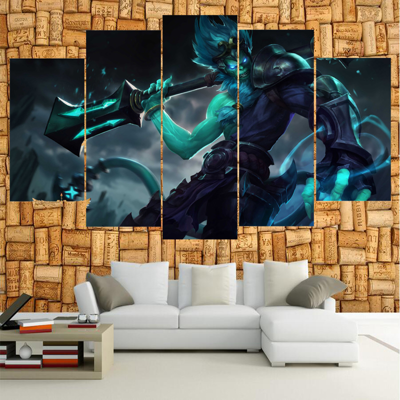 5 Piece Game monkey League of Legends Canvas Wall Art For Living Room HD Print Painting