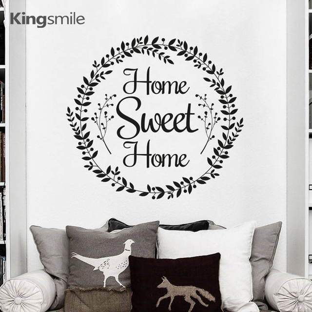 Classic Quotes Home Sweet Home Wall Stickers Flower Mural Vinyls Art Decals Removable for Living Room Decoration Drop Shipping