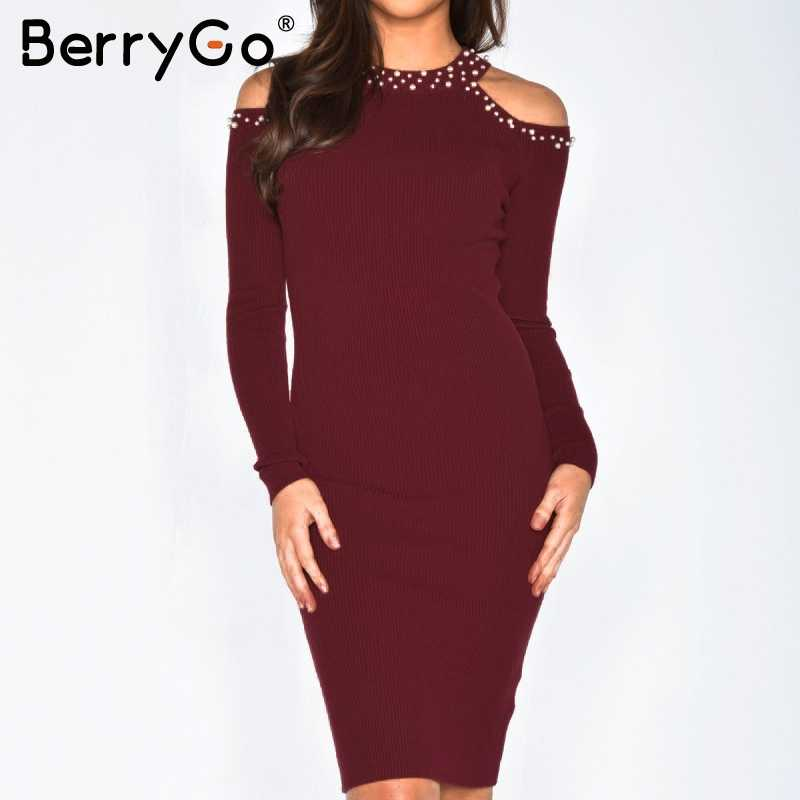 3bc72305c4afd BerryGo Sexy off shoulder bead bodycon winter dress Women knitted sweater  dress casual Elegant autumn red dress vestidos jumper