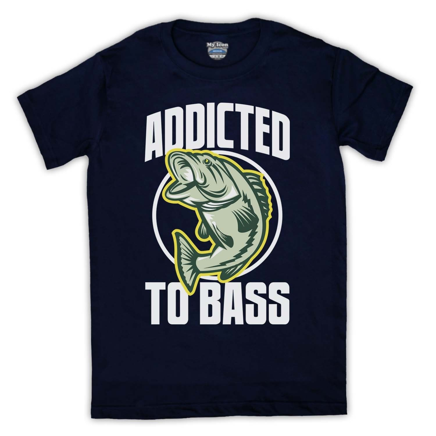 ADDICTED TO BASS FISHer FISHINGer COMEDY FUNNY RETRO MENS AND LADIES T SHIRT TEE Men'S O-Neck Printed Tee T Shirt Top Tee