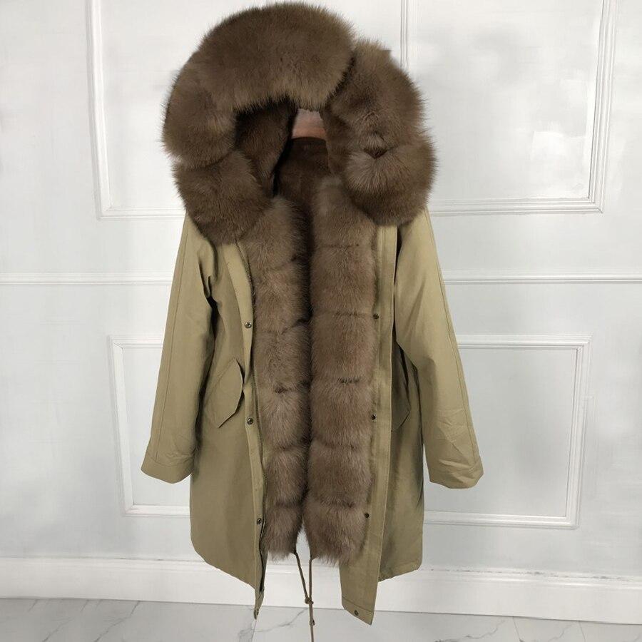 Luxuoso casaco de pele verdadeira Mulher de Moda de Nova Real rabbit fur forro Casaco Com Capuz Outwear Inverno Parka quente Grande pele de raposa jaqueta