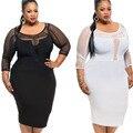 2016 XXL XXXL Mujeres Sexy Vestido de Tallas grandes Negro Blanco Largo manga Mesh Midi Vestido Lápiz de Gran Tamaño Elegante Vestido de Fiesta vestidos