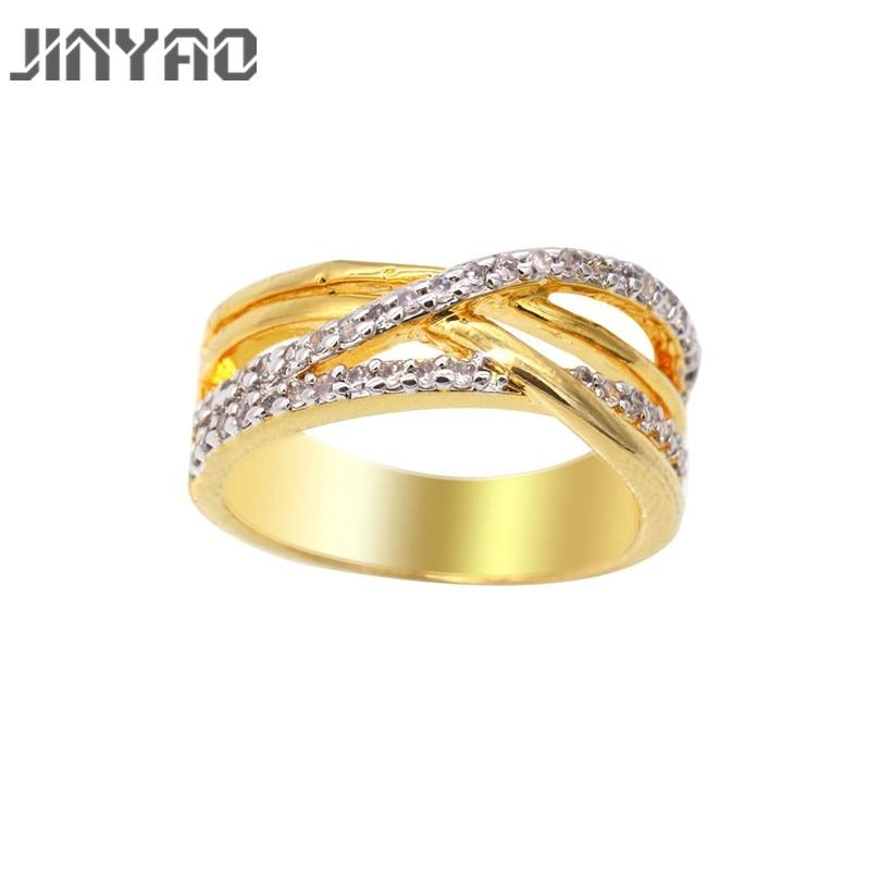 Jinyao новые модные женские обручальное кольцо ювелирные изделия двойной Золотая Цвет Обручение кольцо для Для женщин CZ камнем обещание Кольц...