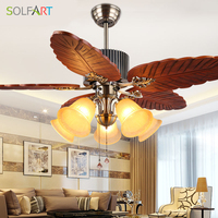 SOLFART wooden ceiling fan ceiling fan with glass light lustres vintage antique home lamps for dining room indoor slf1002