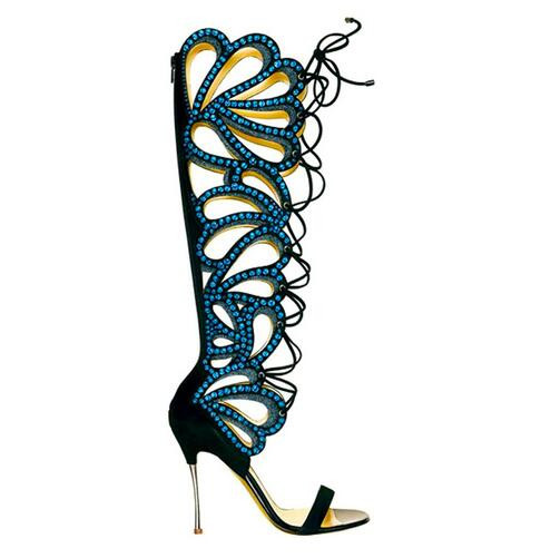 Sexy Woman Peep Toe Knee-high High Heel shoes Summer Boot Big Size 42 Special cut-outs lace-up Black Pink Green colorful crystal woman beautiful royal blue wedges sandal summer sexy cut outs design charming tassels ankle lace up peep toe female party shoes
