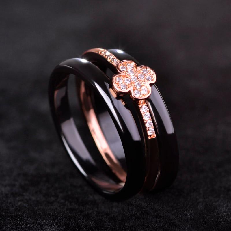 Blucome Luxury Clover Ceramics Women Man Ring Black White Rose Gold Rhodium Plated Keramik Aros Three Lines Wedding Accessories