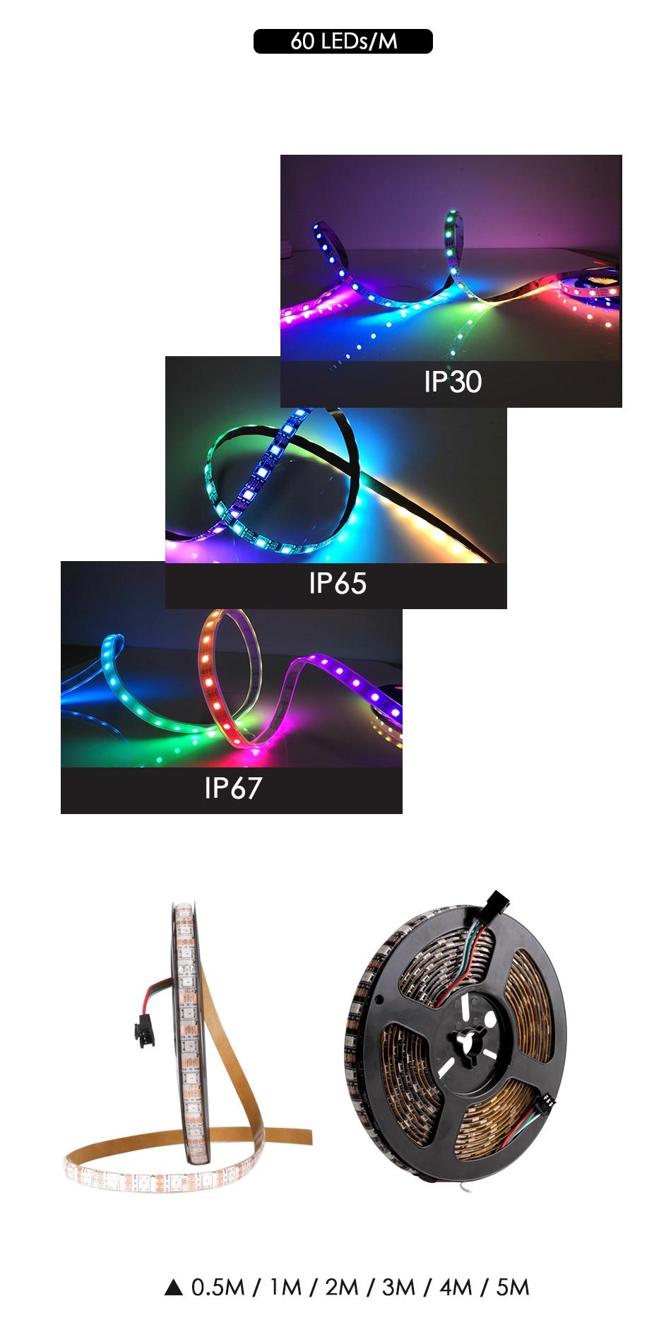 WS2812B DC 5V LED Strip RGB 50CM 1M 2M 3M 4M 5M 30/60/144 LEDs Smart Addressable Pixel Black White PCB WS2812 IC 17Key Bar