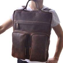Men's Vintage Dark Brown Backpacks Geniune Leather Large Capacity 15 Inch Computer Bags American Style Shoulder Back Pack