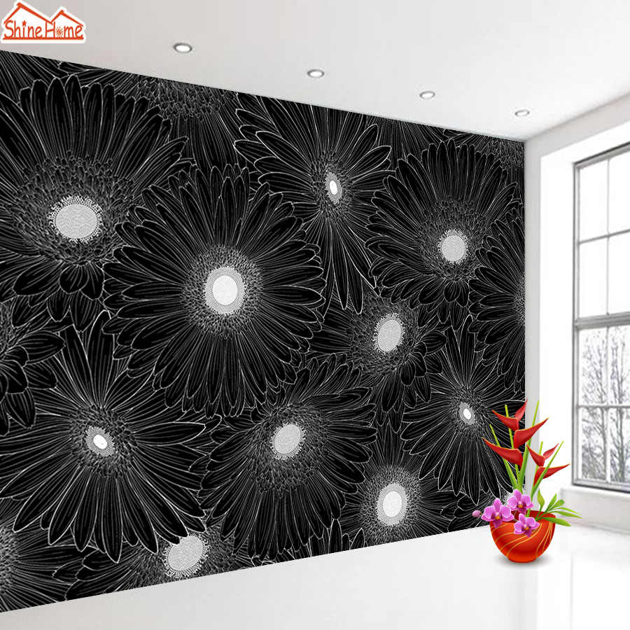 Black White Floral Mural Wallpaper 3d Wall Paper Papers Home Decor Wallpapers For Walls Rolls Living Room Bedroom Peel And Stick Wallpapers Aliexpress