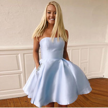Strapless Light Sky Blue Cocktail Dresses With Pockets 2019 New Satin Knee Length Graduation Formal Party Dress Homecoming Gowns(China)