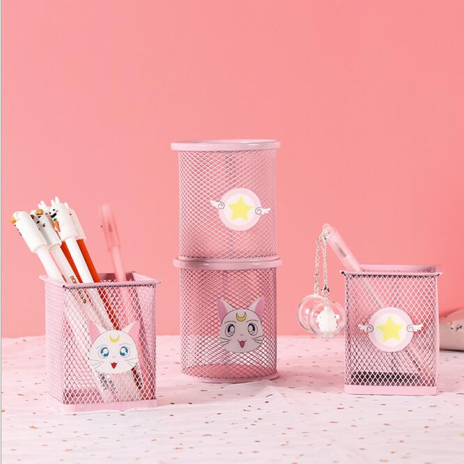 Pink Pretty Metal Pen Holder Pencil Container Desk Storage Box Cover For Girls Birthday Gift For Kids School Office Stationery