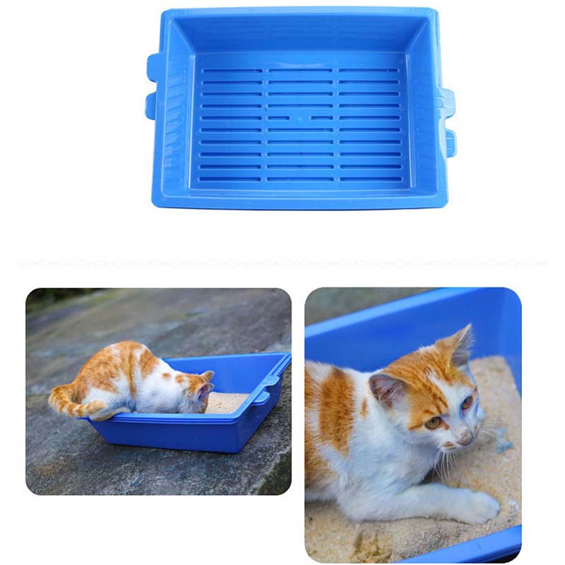 3PCS/Set Plastic Blue Cat Bedpans Toilet For Cats Puppys Toilet Training Bedpan 3 Part System Cat Self Sifting Litter Box