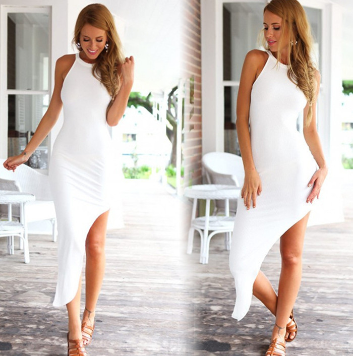 vestido bandage mangas regular mulher sexy vestido longo branco praia mulheres irregular. Black Bedroom Furniture Sets. Home Design Ideas
