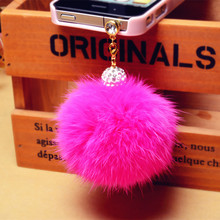 New arrival Promotion Earphone Jack Plug Crystal ball Rabbit Fur Dust Plug Mobile Phone 3.5mm Earphones Hole Cell Accessories