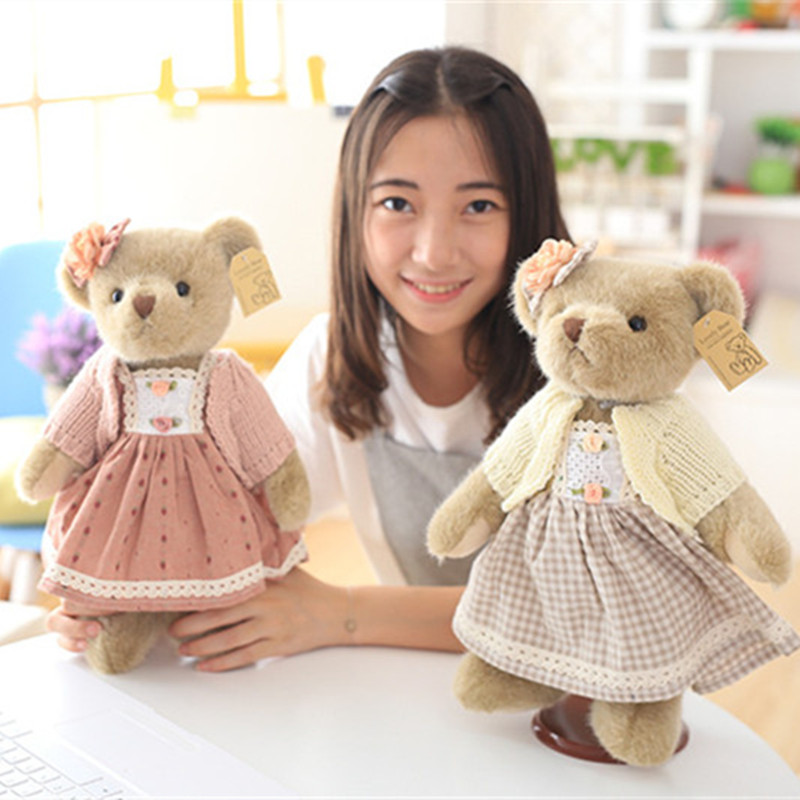High Quality Super Cute Couple Teddy Bears in Skirt Plush Toys Stuffed Dolls 1 Pair 35cm-in Stuffed & Plush Animals from Toys & Hobbies    2