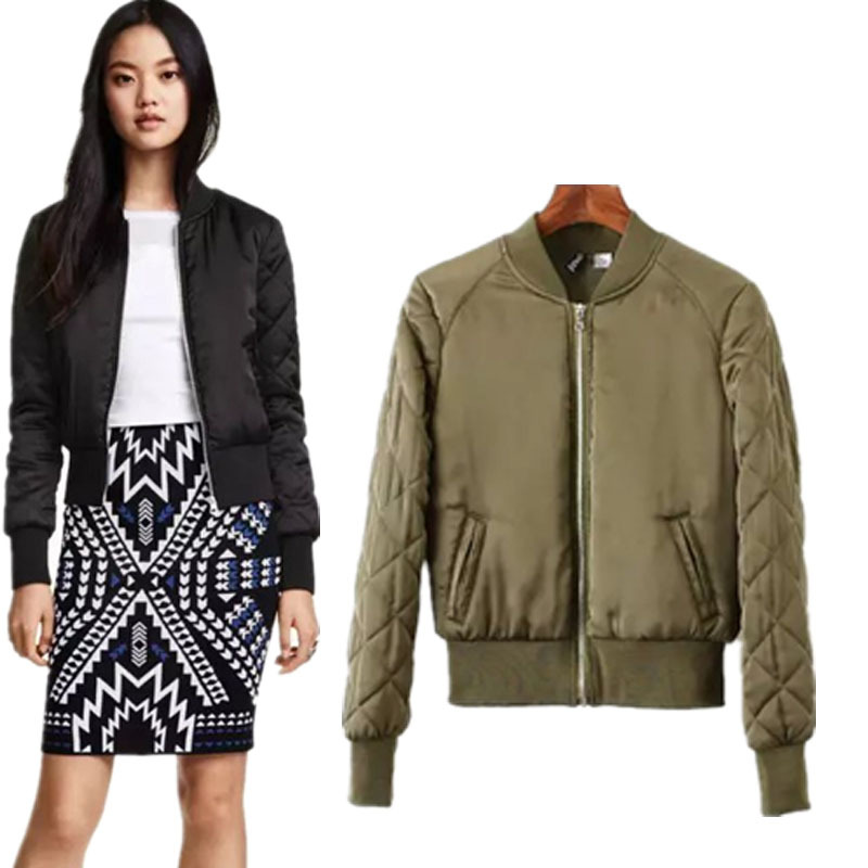 European Brand New Women Short Jackets Long Sleeved Stand Collar Overcoats Women's  Bomber Jacket Army Green - Popular Women's Army Bomber Jacket-Buy Cheap Women's Army