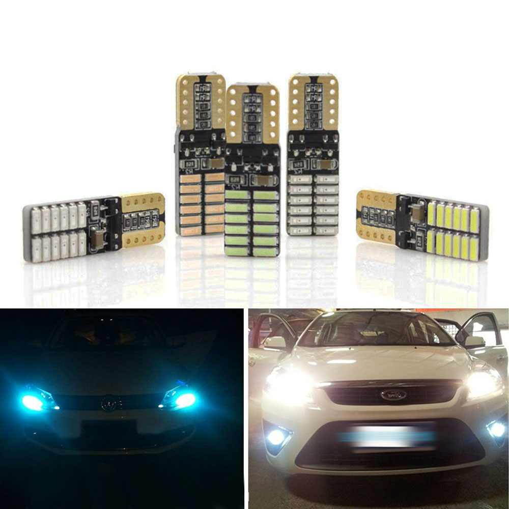 T10 24 SMD 4014 Led Canbus Error Free Auto Clearance Lights W5W 24SMD Car Wedge Tail Side Light Reading Lamp NO ERROR 100pcs lot t10 5 smd 5050 led canbus error free car clearance lights w5w 194 5smd light bulbs no obc error white