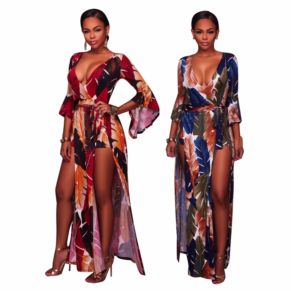 2019 Sexy Women Skinny Playsuits split Clothes Plus size Feather Print   Jumpsuits   Fashion Lace up body   jumpsuit   bodysuit