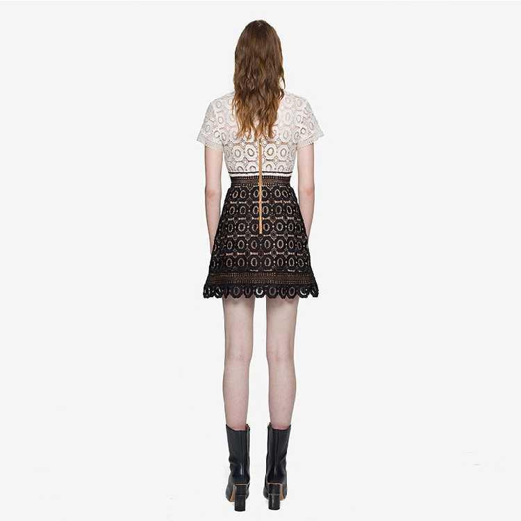 e6a31b029a26 ... Zarachiel Self-Portrait Black White Patchwork Lace Dress Women s Short  Sleeve Flower Water Soluble Lace ...