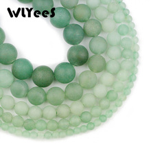 WLYeeS Matte Green beads aventurine Natural Stone 4~12 mm Round ball Loose Spacer for DIY jewelry Necklace bracelet Making