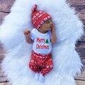 3 unids Navidad Del Bebé Del Mameluco Recién Nacido Niños Ropa Del Muchacho de La Muchacha Sheeve larga Tops Pantalones Primavera Sombrero infantil Outfit Set de Regalo nueva