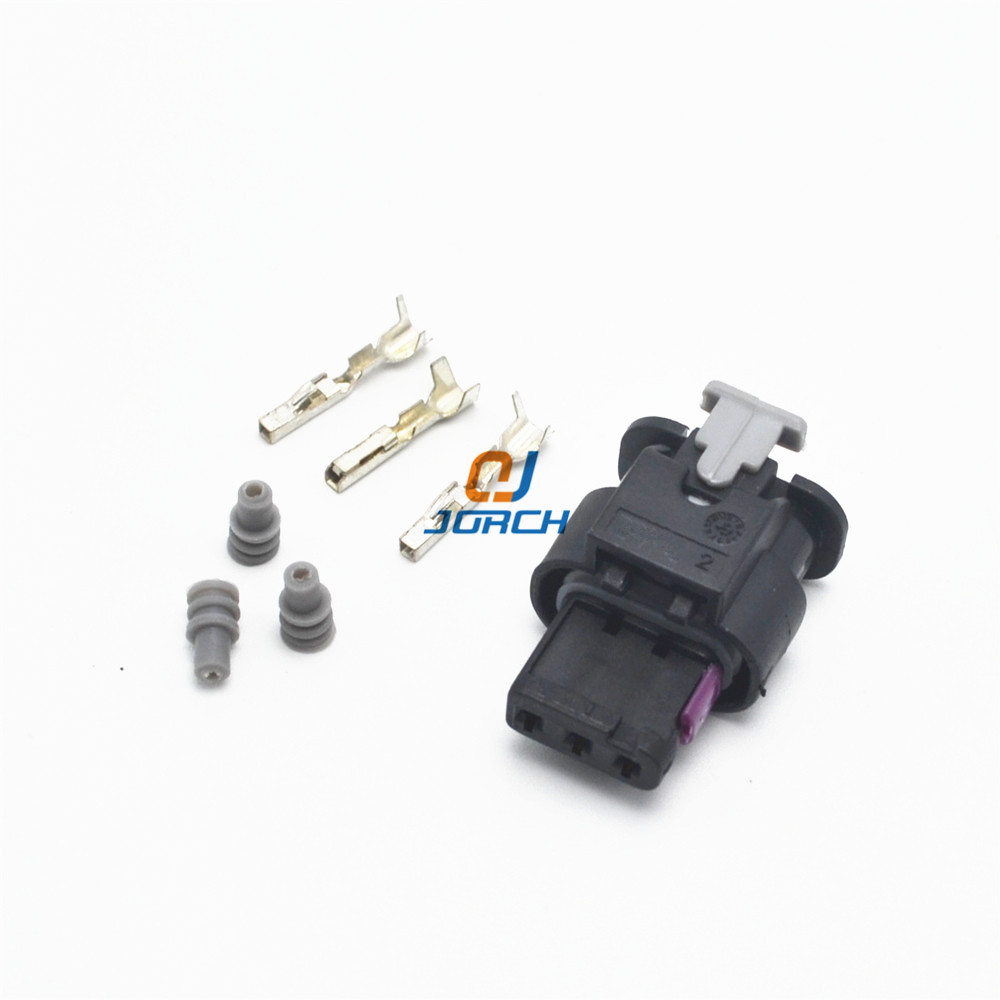 10 Sets 3 Pin AMP Auto Electronic Automotive Waterproof Connector 1718653-1 For VW Audi 4F0973703A  4F0973703 Free Shipping