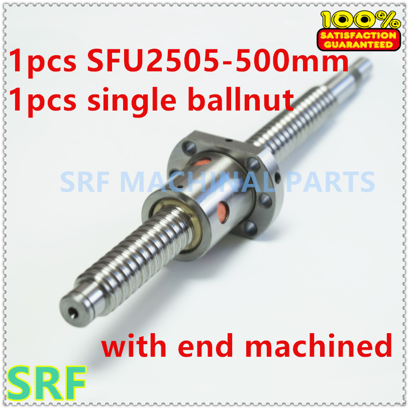 Anti Backlash 25mm Ballscrew RM2505 Rolled ball screw L=500mm with single ball nut for CNC  with part BK/BF20 end processing