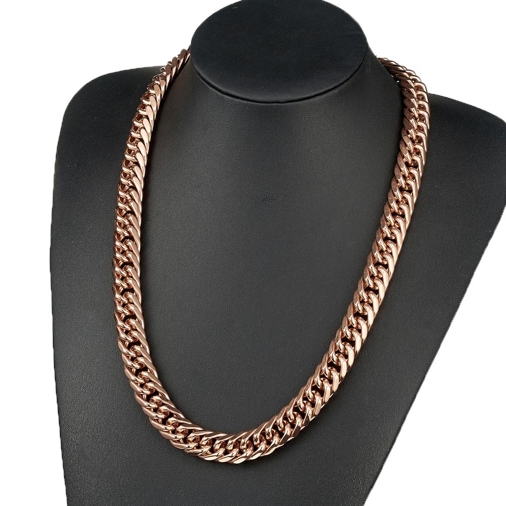 14mm 16mm Double Rose Gold Curb Cuban Link Chain Men 39 s Jewelry Stainless Steel Necklace Or Bracelet 7 40 Inches Custom Size in Chain Necklaces from Jewelry amp Accessories