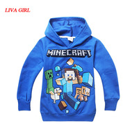 Spring Autumn Kids Black Pullover Cotton Sweatshirt Minecraft Creeper Pattern Children Clothes Hoodie Gift For Boys