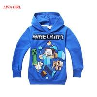 Spring Autumn Kids Black Pullover Cotton Sweatshirt Minecraft Creeper Pattern Children Clothes Hoodie Gift For Boys