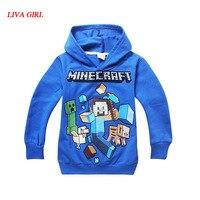 Printemps Automne Enfants Noir Pull Coton Sweat Minecraft Creeper Motif Enfants Vêtements À Capuche Cadeau Pour Garçons Âge 4-14 T