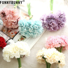 FUNNYBUNNY 6pcs Silk Artificial Carnation Flowers for Wedding Bridal Bridesmaid Home Decoration Mothers day gift