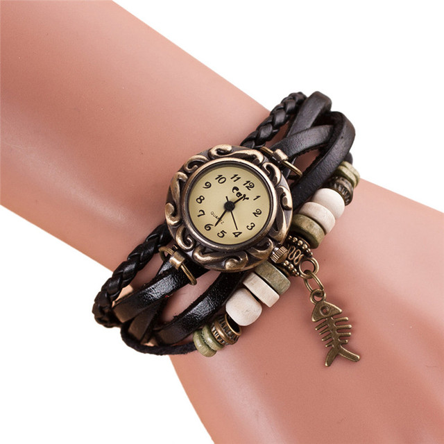 2018 montre femme Women's Bracelet Watches Weave Around Leather Fishbone Bracele