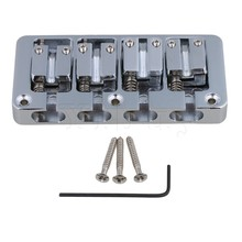 Yibuy Chrome Zinc Alloy L Shape 4 String Bass Bridge With Wrench Replacement for Bass Guitar