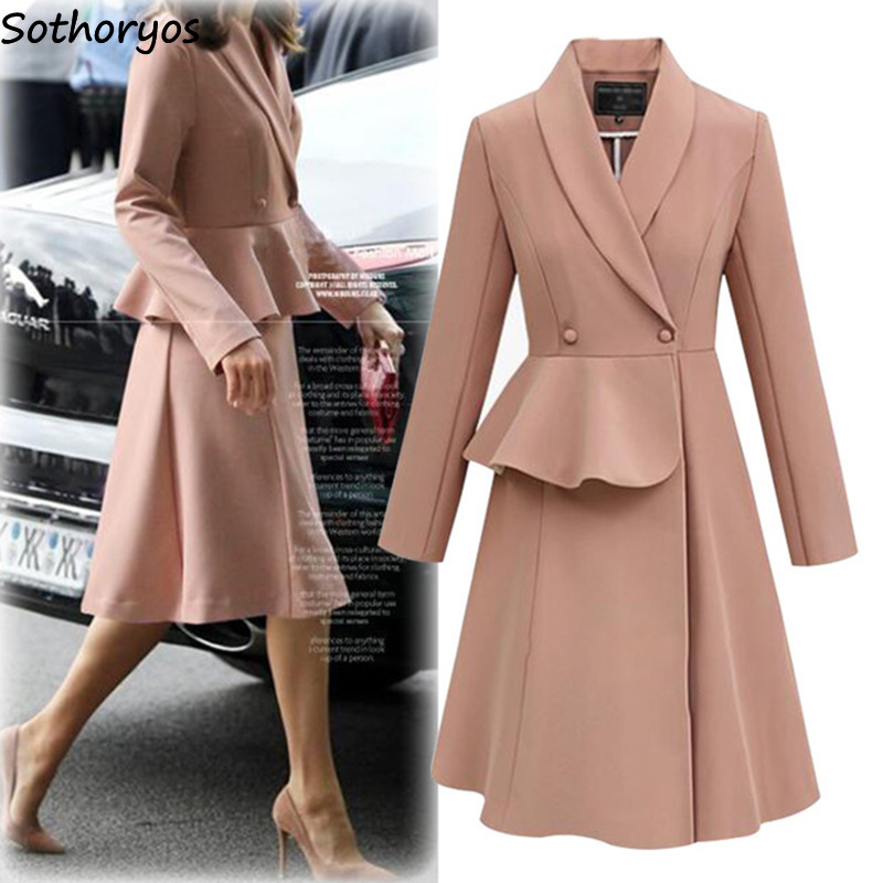Trench Women 2019 Long Turn-down Collar Leisure Single Breasted Coats Womens Solid Simple All-match European Style Elegant Chic