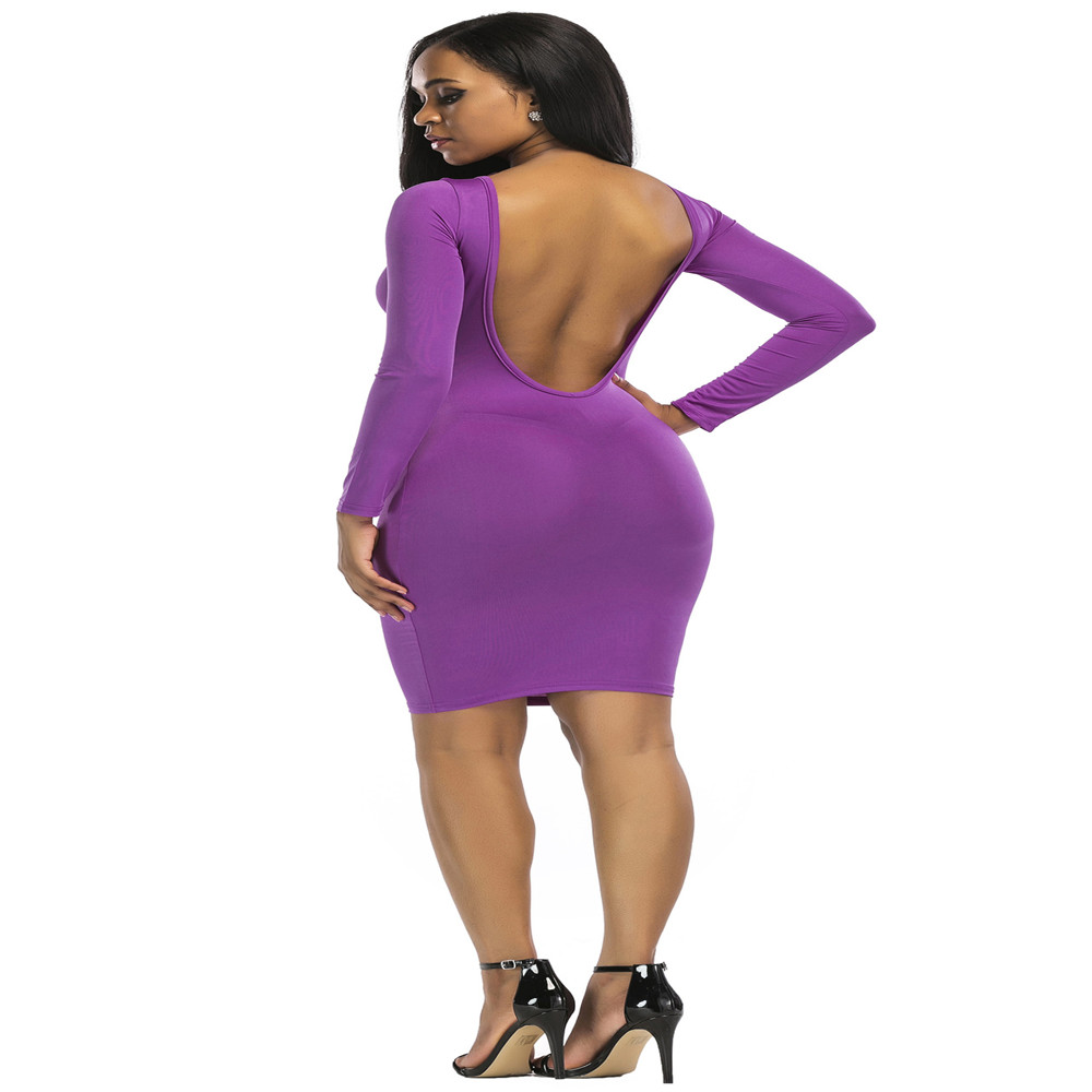 New popular European and American fashion personality casual hollow long sleeved solid color Slim sexy female tight dress in Dresses from Women 39 s Clothing
