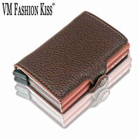 VM FASHION KISS RFID Soft Leather Mini Wallet Security Information Double Box Aluminum Business Credit Card Holder Metal Purse