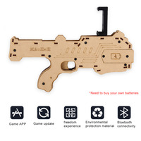 AR Game Gun with Cell Phone Stand Holder Wireless Bluetooth Newest Style 3D VR Games Wooden Gun For Birthday Surprising Gift