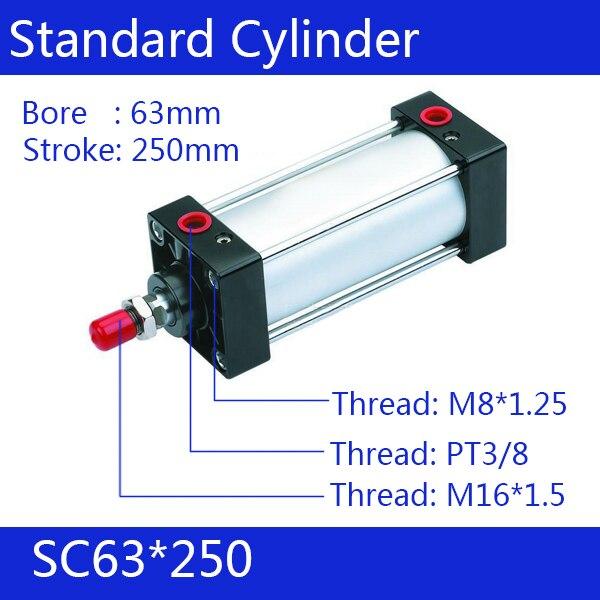 ФОТО SC63*250   63mm Bore 250mm Stroke SC63X250 SC Series Single Rod Standard Pneumatic Air Cylinder SC63-250