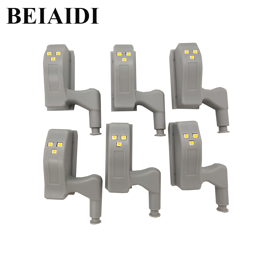 BEIAIDI 6pcs Universal Hinge Cabinet Lamp Kitchen Bedroom Living Room Cupboard Closet LED Sensor Light Wardrobe Inner Night Lamp