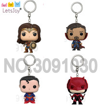 Super hero superman Doctor Strange 4.5 cm Daredevil popdoll Avenger Justice league THE galaxy guardian Keychain Keyring with box(China)