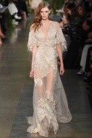 HightQualityFashion Show вечерние платья с круглым вырезом и вышивкой прозрачные кружевные сексуальные женские платья знаменитостей облегающее плать