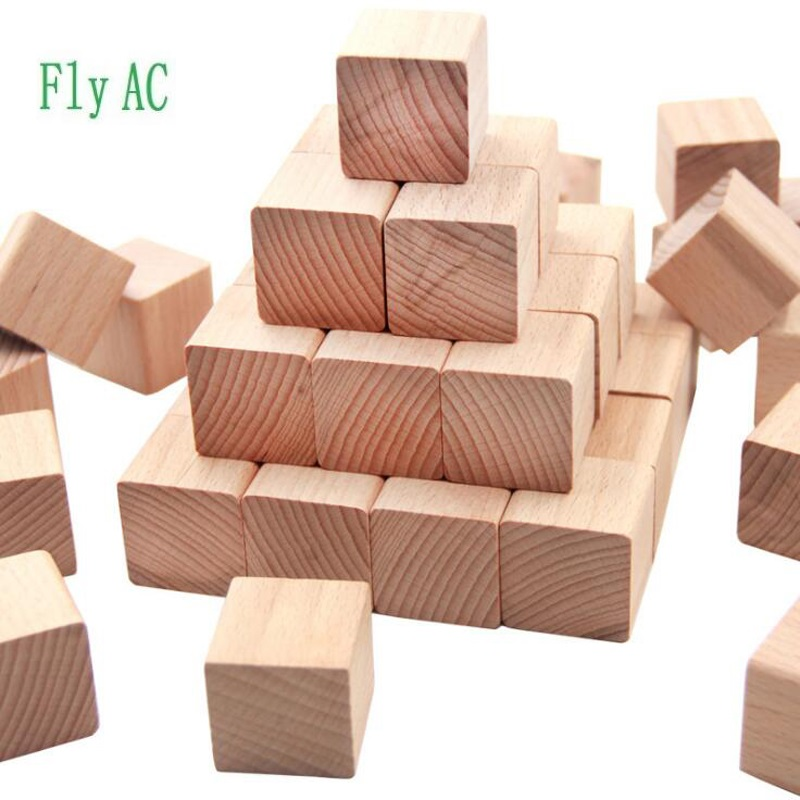 100 pcs/set High quality Beech Cubic Brick Game 2.5cm Cubes DIY color Blocks Wooden Educational Toys For Baby Children
