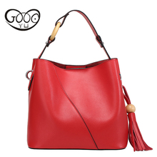 Bags Handbags Women Famous Brands New Genuine Leather Bucket bag Luxury Handbags Women Bags Designer Contracted Tassel Women Bag 2017 women s handbags fashion wild tassel bucket bag tote leather women messenger bags girls for shoulder bag brands designer