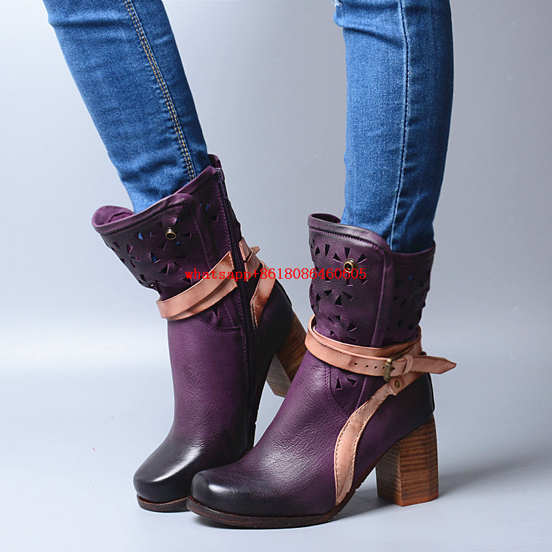 classic autumn winter ankle boots for women chunky high heel purple brown colors genuine leather shoes fur rain boots motorcycle