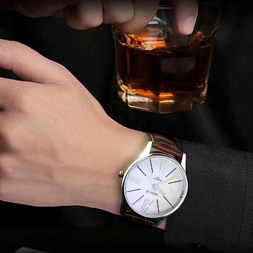 Reloj de pulsera analógico de cuarzo de cuero de moda de lujo para hombre, reloj de pulsera de cuarzo, envío directo 2018JUL12